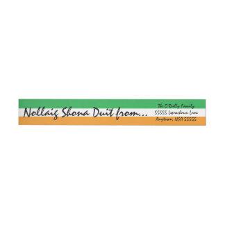 Irish Flag Nollaig Shona Duit Christmas Greetings Wrap Around Address Label