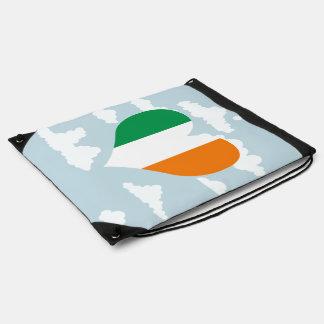 Irish Flag on a cloudy background Drawstring Bag