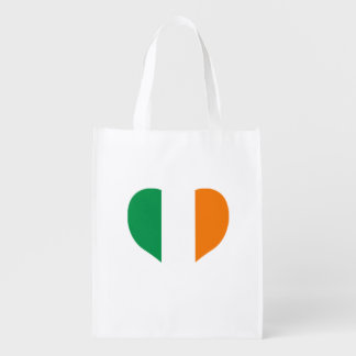 Irish Flag on a cloudy background Grocery Bag