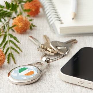 Irish Flag on a cloudy background Silver-Colored Oval Metal Keychain