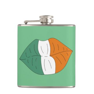Irish Flag on Lips Funny Alcohol Flask