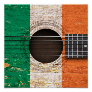 Irish Flag on Old Acoustic Guitar Poster