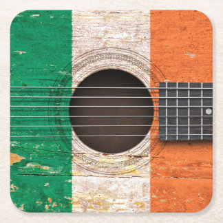 Irish Flag on Old Acoustic Guitar Square Paper Coaster