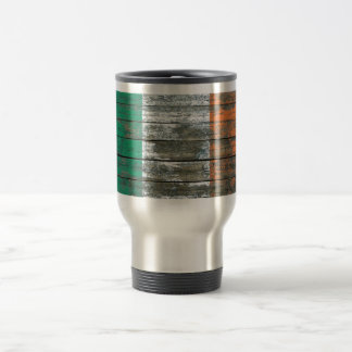 Irish Flag on Rough Wood Boards Effect Travel Mug
