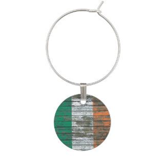 Irish Flag on Rough Wood Boards Effect Wine Glass Charm