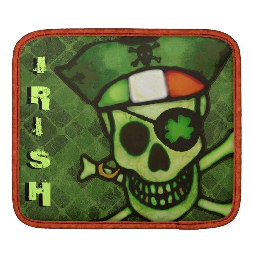 Irish Flag Pirate Skull Rickshaw iPad Sleeve