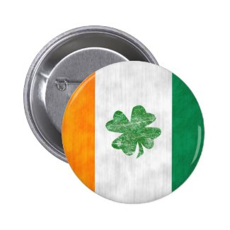 Irish Flag Shamrock Button