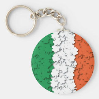 Irish Flag Shamrock Field Keychain
