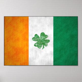 Irish Flag Shamrock Poster