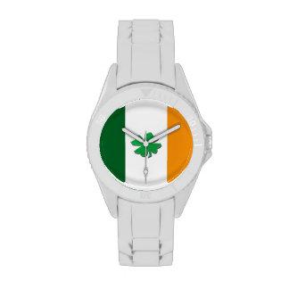 Irish flag shamrock wristwatches
