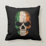 Irish Flag Skull on Black Throw Pillow