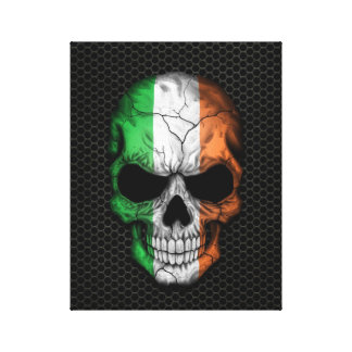 Irish Flag Skull on Steel Mesh Graphic Canvas Print