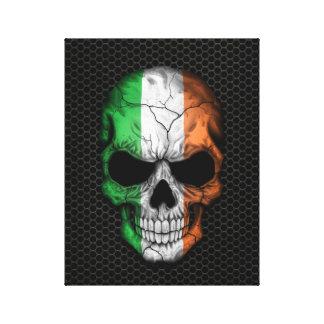 Irish Flag Skull on Steel Mesh Graphic Canvas Print