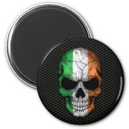 Irish Flag Skull on Steel Mesh Graphic Refrigerator Magnet