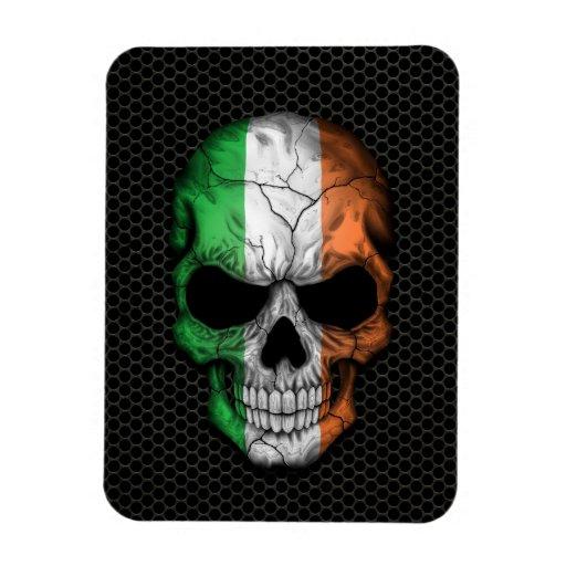 Irish Flag Skull on Steel Mesh Graphic Rectangle Magnet