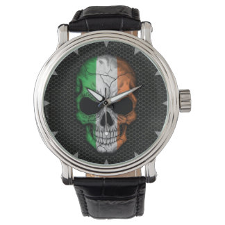 Irish Flag Skull on Steel Mesh Graphic Wristwatch
