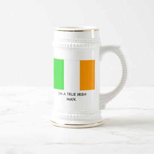irish_flag, soy UN HOMBRE IRLANDÉS VERDADERO Jarra De Cerveza