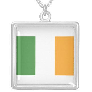 Irish Flag Square Silver Necklace