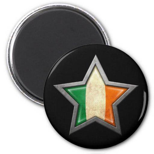 Irish Flag Star on Black Fridge Magnets