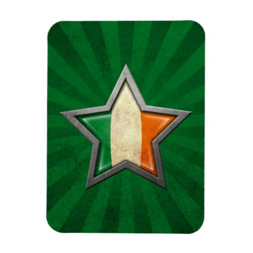 Irish Flag Star with Rays of Light Flexible Magnets