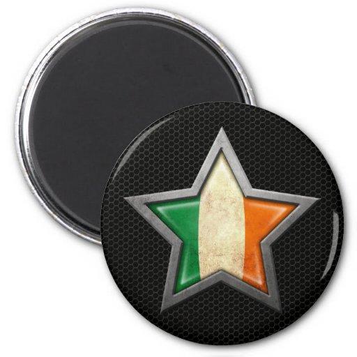 Irish Flag Star with Steel Mesh Effect Fridge Magnets