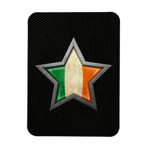 Irish Flag Star with Steel Mesh Effect Rectangle Magnets