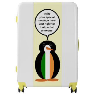 Irish Flag Talking Penguin Luggage