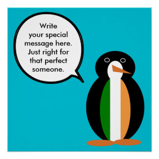 Irish Flag Talking Penguin Poster