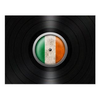 Irish Flag Vinyl Record Album Graphic Postcard