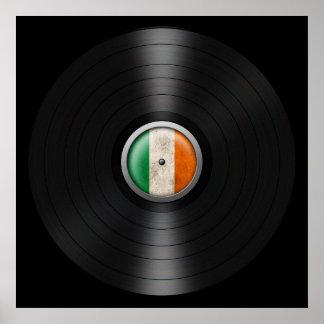 Irish Flag Vinyl Record Album Graphic Poster