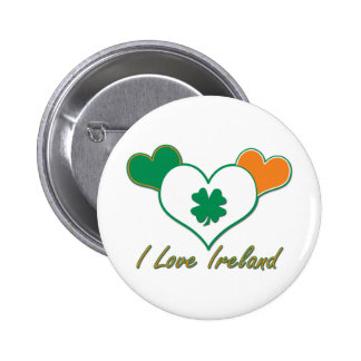 Irish Flag with Hearts Pinback Button