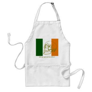 Irish Flag With Human Skull Drawing Adult Apron