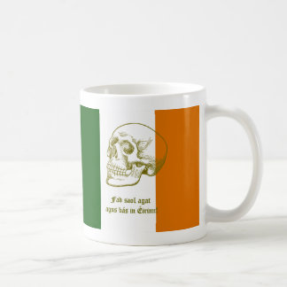 Irish Flag With Human Skull Drawing Classic White Coffee Mug