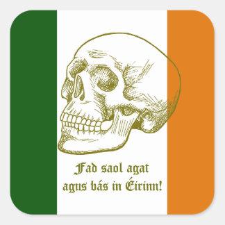Irish Flag With Human Skull Drawing Square Sticker