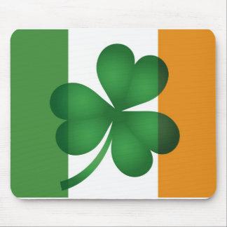 Irish Flag with Lucky Shamrock Mousepad