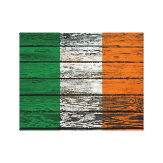 Irish Flag with Rough Wood Grain Effect Canvas Print