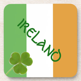 Irish Flag With Shamrock Coaster