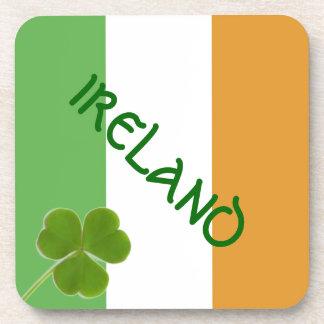 Irish Flag With Shamrock Beverage Coasters