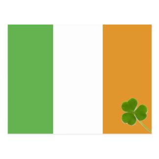 Irish Flag With Shamrock Postcard