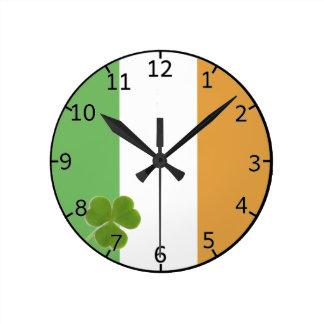Irish Flag With Shamrock Round Clock