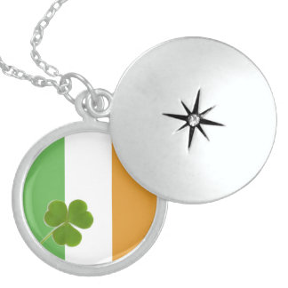 Irish Flag With Shamrock Sterling Silver Necklace