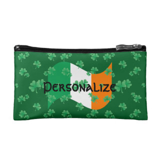 Irish Flag with Shamrocks Cosmetic Bag