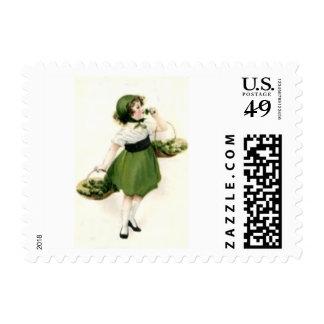 Irish Flower Girl Shamrock Green Postage