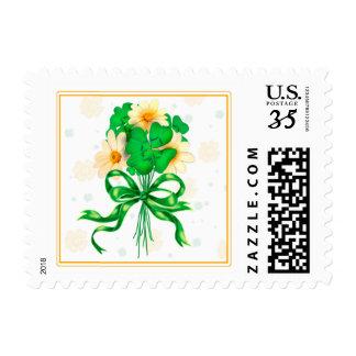 "IRISH FLOWERS CARTOON  Small 1.8"" x 1.3"" Postage"