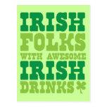 IRISH FOLKS WITH AWESOME IRISH DRINKS POSTCARD