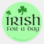 Irish for a Day Green Shamrock Stickers