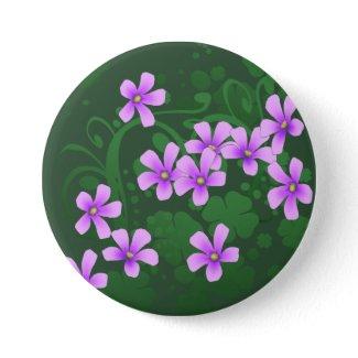 Irish Four Leaf Clover Blooms Button