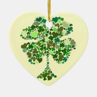 Irish Four Leaf Clover Heart Christmas Ornament