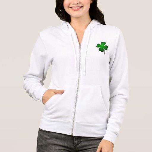 Irish Four Leaf Clover Zip Up Hood Sweat Hoodie