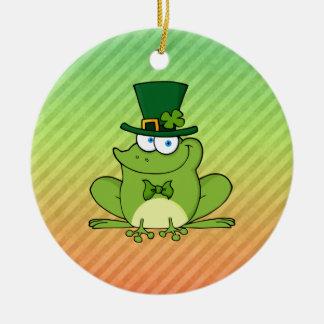 Irish Frog Design Double-Sided Ceramic Round Christmas Ornament
